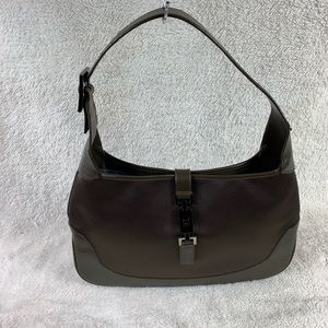 Authentic Gucci Jackie Greige Satin & Leather Bag